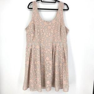 Torrid 20 Sleeveless Floral Lace Dress Blush Pink